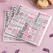 Happy Birthday Pink & Grey Napkins (20)